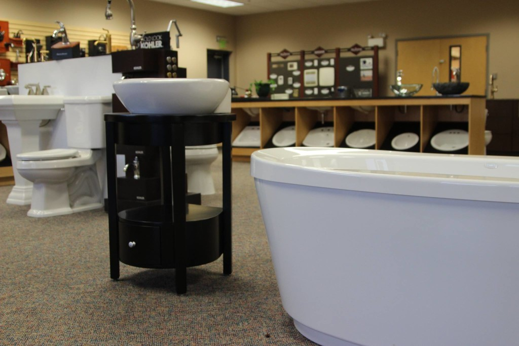 Sinks, Faucets, Bathtubs, and Toilets on display