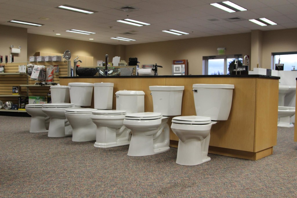 Photo of toilets on display in our showroom