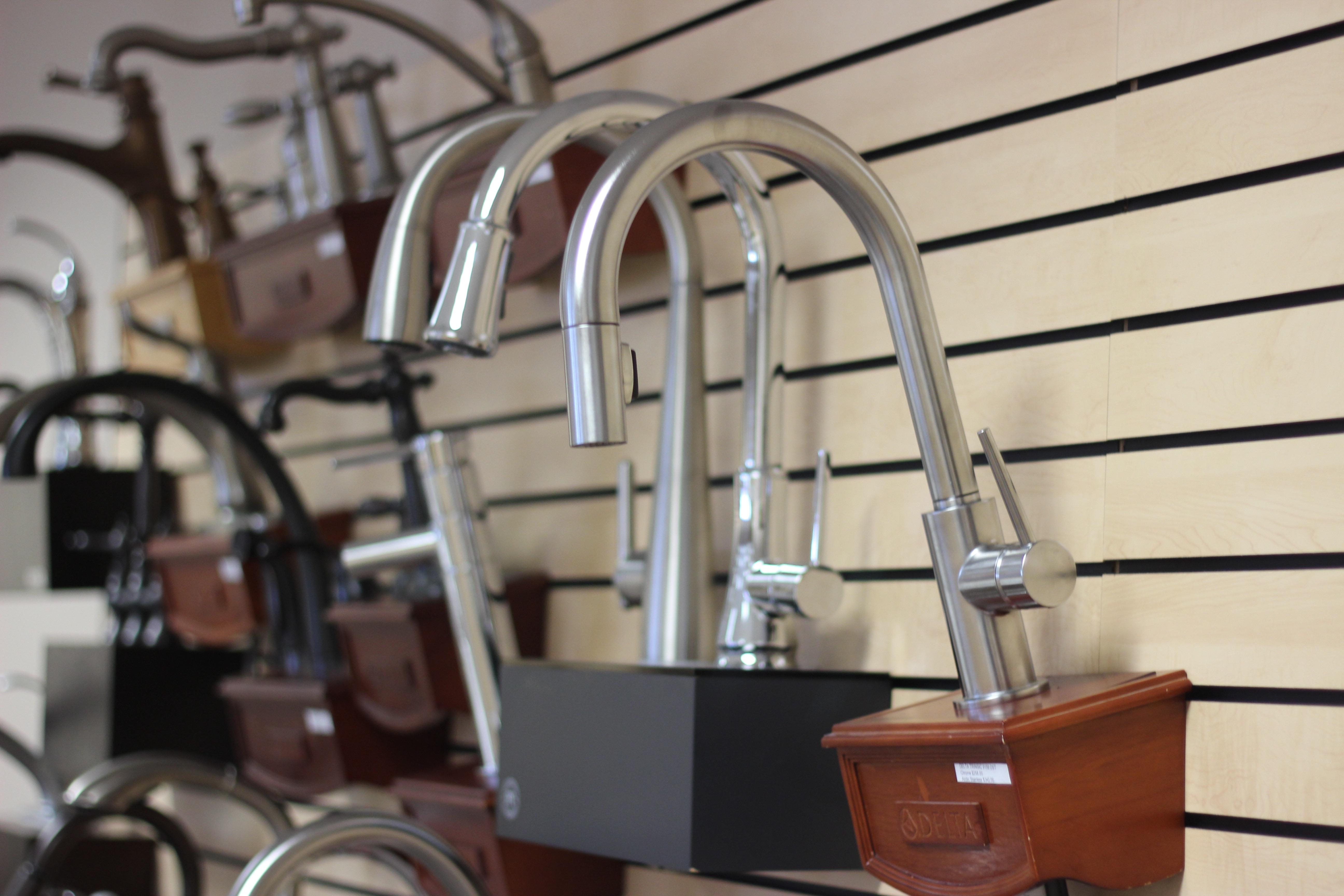 Faucets on display at the Van's Plumbing & Electric showroom in Lynden, WA.