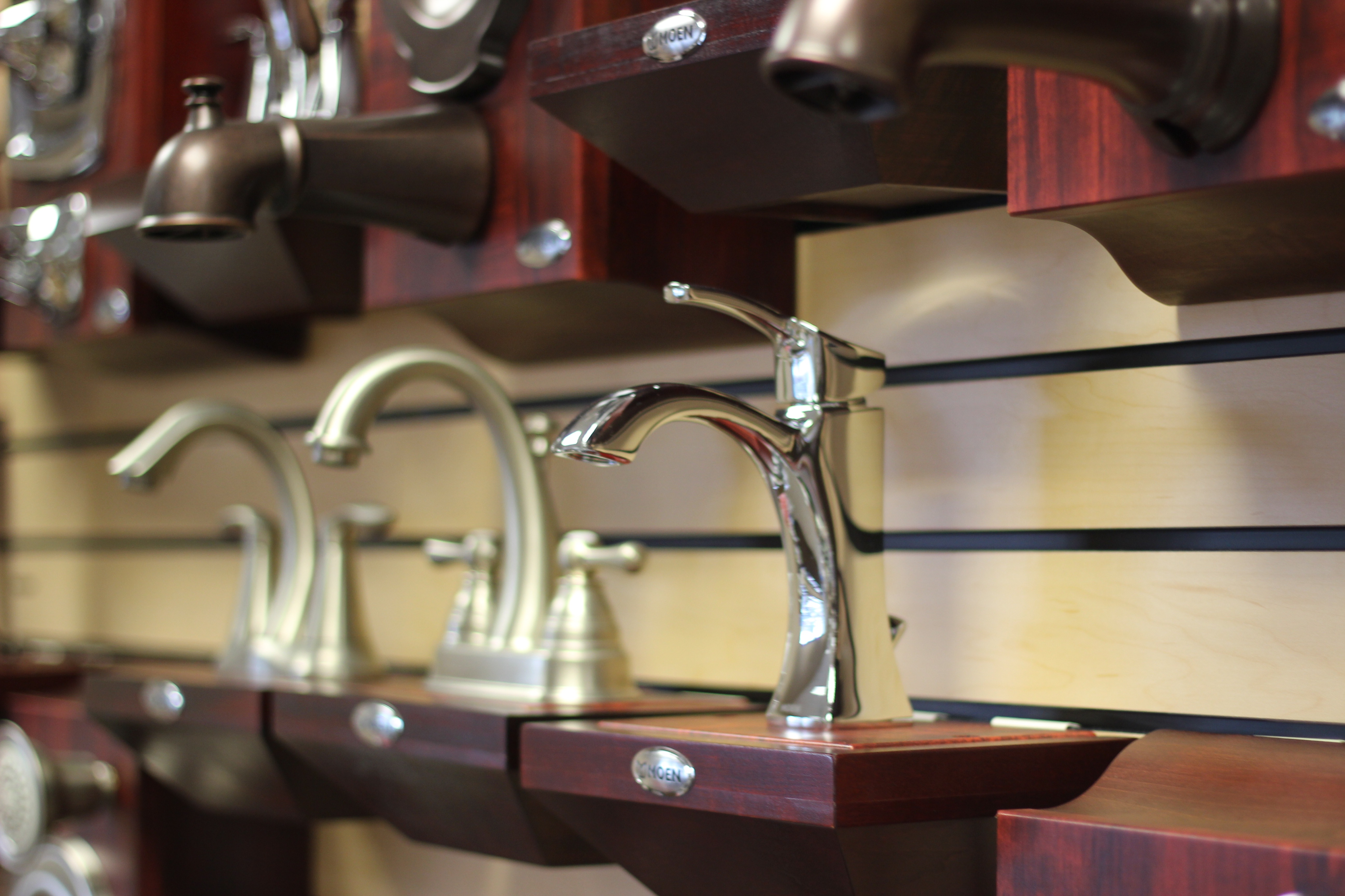 This is a photo of faucets on display at the Van's Plumbing & Electric showroom in Lynden, WA.