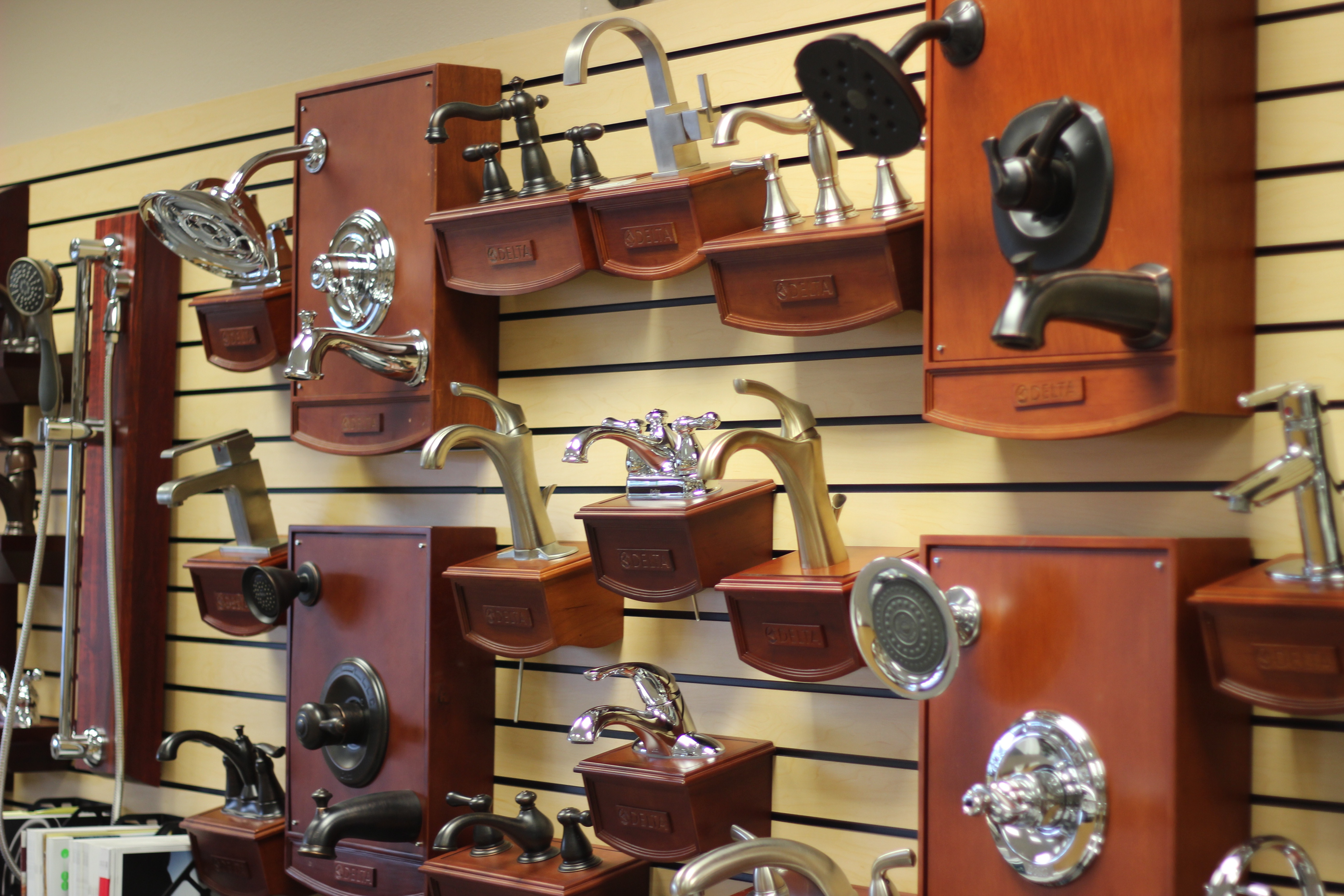 Faucets on display at our showroom in Lynden, WA.