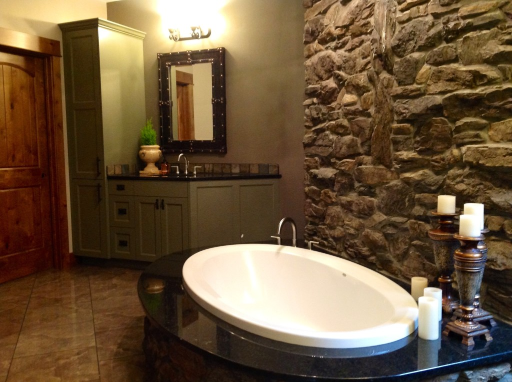 Customer's house of installed bathtub and bathroom sink and faucet.