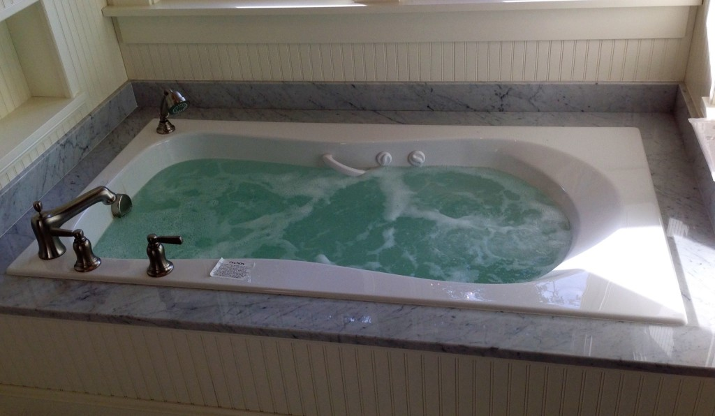 Bath tub installed while doing work for a customer.