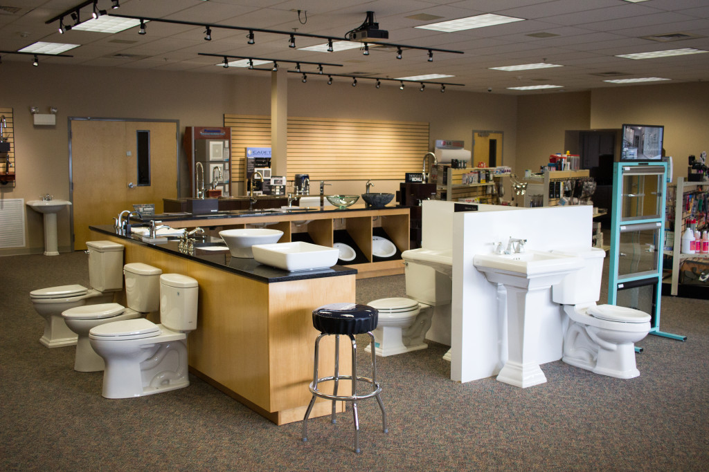 Toilets, Sinks, and Faucets on display in our showroom. Perfect for your next residential or commercial project.